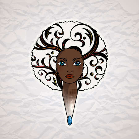 Portrait of a woman with luxuriant hair in the style of an African. Vector. The patterns in the hair. Illustration