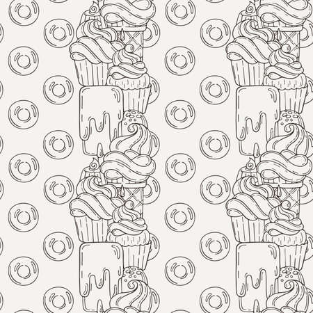 wrappers: Vector Muffins Seamless Pattern. Cakes, Sweets. Candy wrappers, cups and cream.