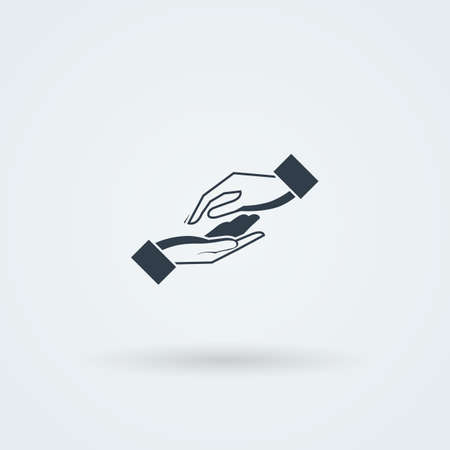 hand care: Icon with two vector hands in a handshake. Greeting. Pair work. Friendship. Monochrome ?onoicon.