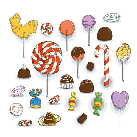 glaze: Set of Candy Icons. Glaze, caramel, candy, lollipops, chocolates, truffles.