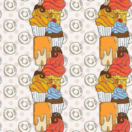 muffins: Vector Muffins Seamless Pattern. Cakes, Sweets. Candy wrappers, cups and cream.