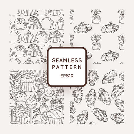 buns: Set of Vector Candy, Bows and Muffins Seamless Patterns. Sweet Party Texture. Buns, donuts, sweet icing and jelly beans.