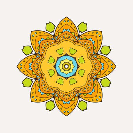 Vector mandala. Mehndi lace tattoo. Oriental weave with sharp corners. The circular pattern.