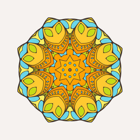 oriental: Vector mandala. Mehndi lace tattoo. Oriental weave with sharp corners. The circular pattern.