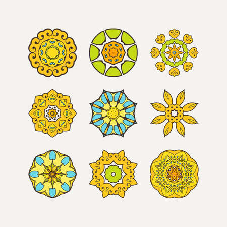 Set of ornate vector mandala symbols. Mehndi lace tattoo. Oriental weave with sharp corners. The circular pattern.