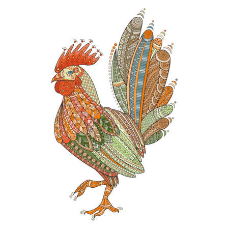 animal cock: Rooster domestic farmer bird for Coloring pages, zentangle illustration or tattoos with high details. Vector patterned cock.