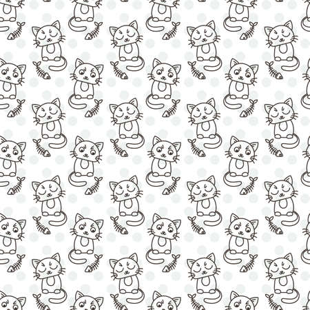 laying little: Seamless pattern of cute cat characters. Fishbone. Ornament for kids.