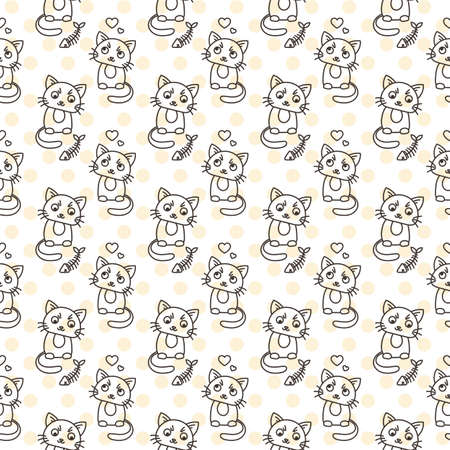 calico: Seamless pattern of cute cat characters. Pet in love. Fishbone. Ornament for kids.