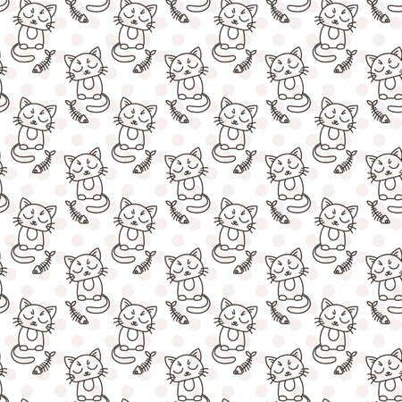 for kids: Seamless pattern of cute cat characters. Fishbone. Ornament for kids.
