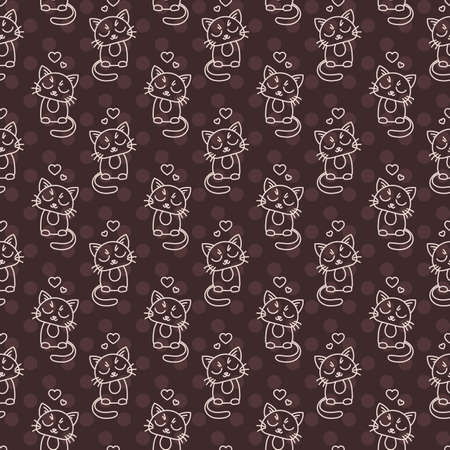 calico: Seamless pattern of cute cat characters. Pet in love. Ornament for kids.