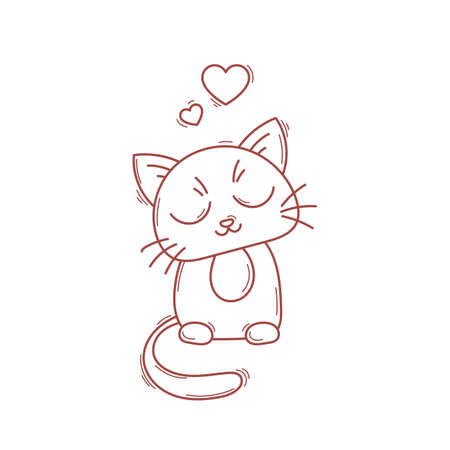 satisfied: Cute cat character. Satisfied fed kitten. Pet in love.