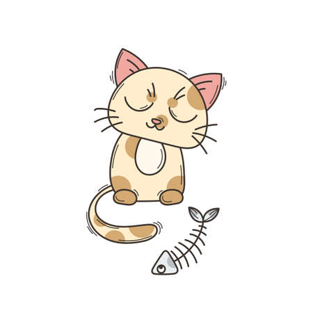 calico: Cute cat character. Satisfied fed kitten. Wary fishbone.