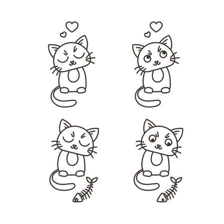 satisfied: Set of cute cat characters. Satisfied fed kittens. Wary fishbone. Pet in love.