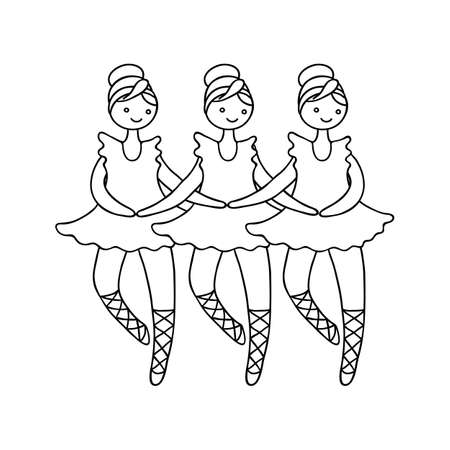 swan lake: Illustration of tilda doll ballerinas during small swan dance. Toys. Picture for coloring. Illustration