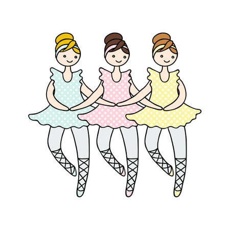 ballet tutu: Illustration of tilda doll ballerinas during small swan dance. Toys. Illustration