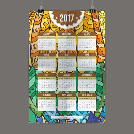 decade: Zentangle colorful calendar 2017 hand painted in the style of floral patterns and doodle. Ornate, elegant and intricate style. Illustration