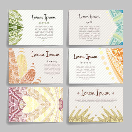 cover art: Set of vector design templates. Brochures in random colorful style. Frames and backgrounds. Zentangle designs.