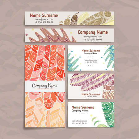 hair feathers: Set of vector design templates. Brochures in random colorful style. Frames and backgrounds. Zentangle designs.