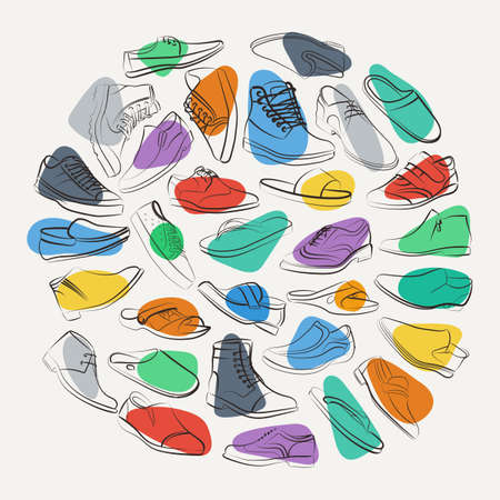 Elegant collage of mens shoes and boots on the colorful spots. Unusual vector background.