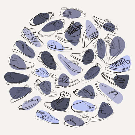 men's shoes: Elegant collage of mens shoes and boots on the colorful spots. Unusual vector background.