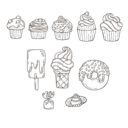 muffins: Set of Candy and Muffins Icons. Cakes, Sweets, Lollipops, Bows.