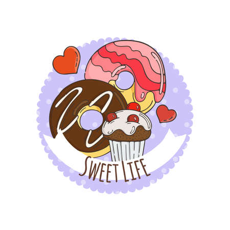 muffins: Colorful Muffins Background. Cakes, Sweets, Donuts. Illustration