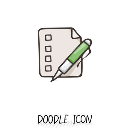 paper note: Doodle paper document icon. Pictograph of note. Single pictogram. Check list. Illustration