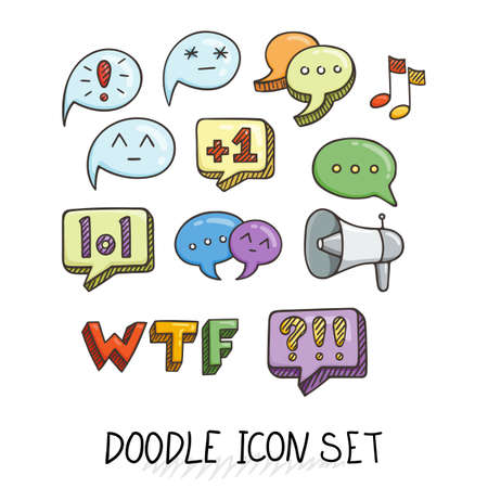 ratings: Set of Universal Doodle Icons. Bright Colors and Variety of Topics. Communication, Social Media, Comments and Ratings, Yada, Chatting. Illustration