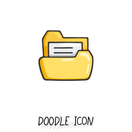 filing documents: Yellow doodle folder icon with paper. Business or desktop symbol.