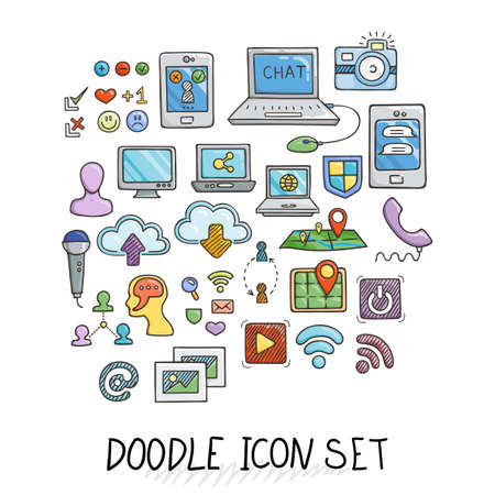 computers and communications: Set of Universal Doodle Icons. Bright Colors and Variety of Topics. Computers, Communications, Clouds, Social Networks.