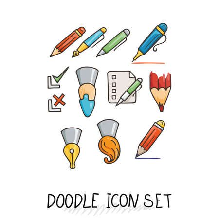 topics: Set of Universal Doodle Icons. Bright Colors and Variety of Topics. Stationery.