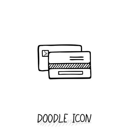 transact: Credit Card Doodle Icon. Vector Business and Shopping Symbol. Illustration