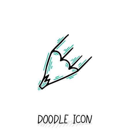 stub: Vector Doodle Pencil Icon. Pencil Stub. Office pictogram.