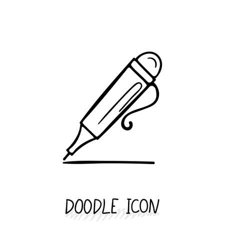pen writing: Icon of Doodle Automatic Pen. Writing office icon. Illustration