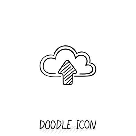 file sharing: Doodle cloud icon. Online store, upload and download, file sharing.