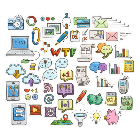 topics: Set of Universal Doodle Icons. Bright Colors and Variety of Topics. Web and Money.