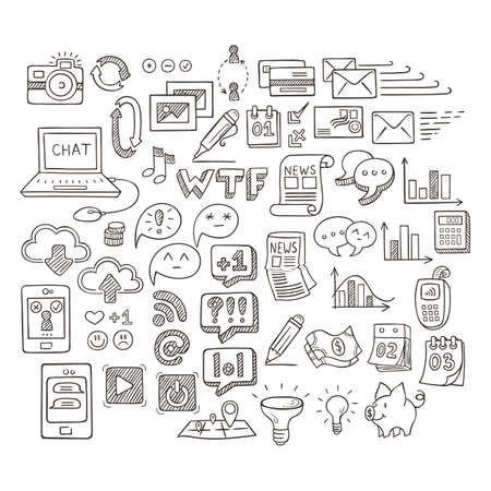 web mail: Set of Universal Doodle Icons. Variety of Topics. Web, Mail and Money. Illustration