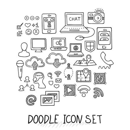 laptop icon: Set of Universal Doodle Icons. Variety of Topics. Computers, Communications, Clouds, Social Networks. Illustration