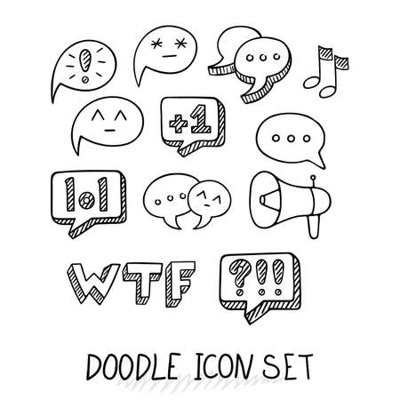 ratings: Set of Universal Doodle Icons. Variety of Topics. Communication, Social Media, Comments and Ratings, Yada, Chatting.