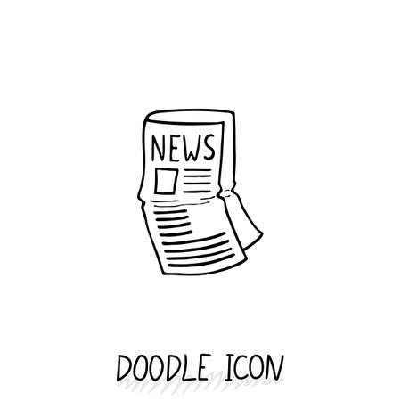 currently: Doodle news icon. Newspaper symbol. Print sheet. Illustration
