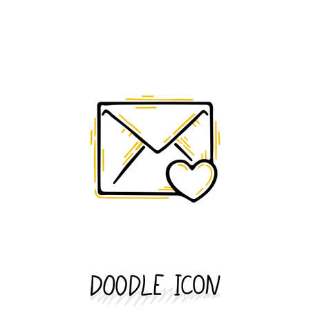 Email doodle icon. Vector pictogram. Delivery and sending mail.