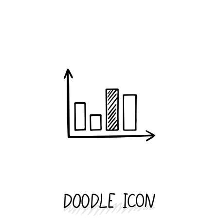 demography: Vector doodle diagram icon. Chart with columns of different size. Illustration