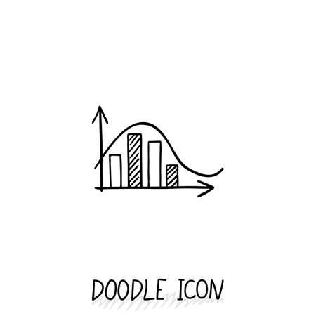 demografia: Vector icono de diagrama del doodle. Carta con columnas de diferente tamaño.