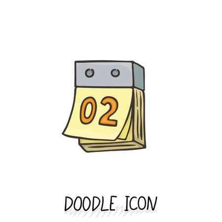 calendar icon: Doodle calendar icon. Vector illustration. Tear-off calendar. Illustration
