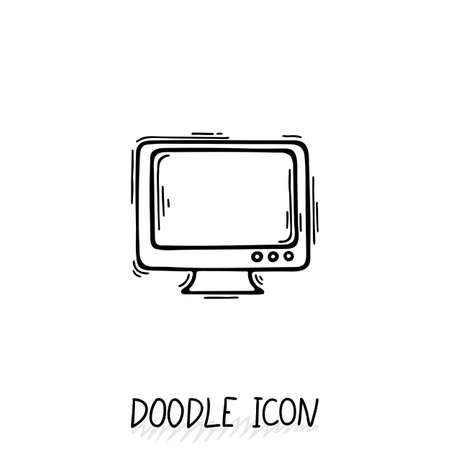 monoblock: Doodle icon of monitor. Desktop computer, monoblock. Office pictogram.