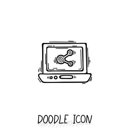 netbook: Doodle Laptop Icon illustration. Compact PC, netbook, ultrabook.