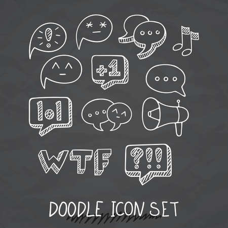 Set of Universal Doodle Icons. Variety of Topics. Communication, Social Media, Comments and Ratings, Yada, Chatting.