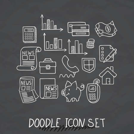 Set of Universal Doodle Icons. Variety of Topics. Protection and Money.