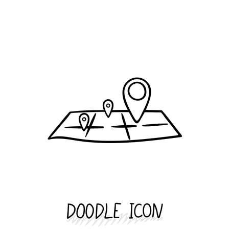 orientation: Doodle location icon. Map pictogram. Terrain orientation, gps.