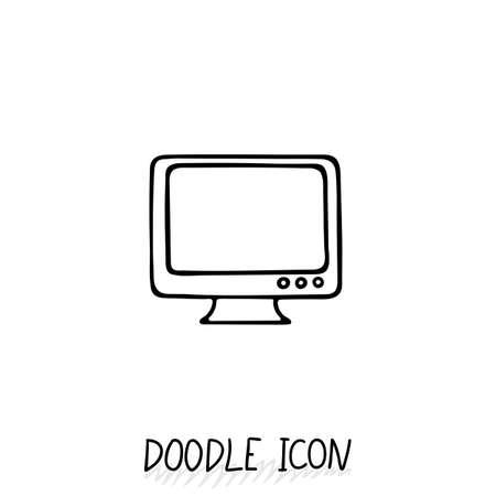 Doodle icon of monitor. Desktop computer, monoblock. Office pictogram.